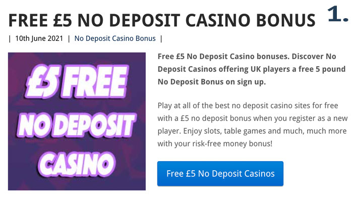how to claim a 5 no deposit casino bonus step 1